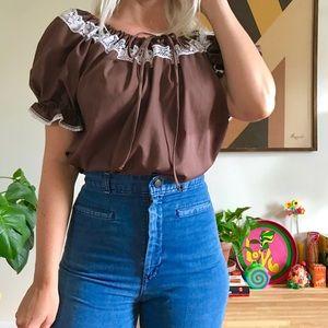 Vintage 70s puff sleeve peasant blouse M
